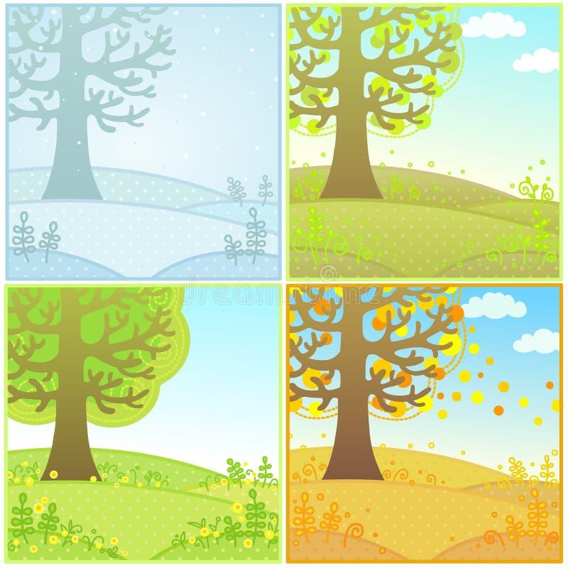 Uppsättning av dekorativa landskapsäsonger vektor illustrationer