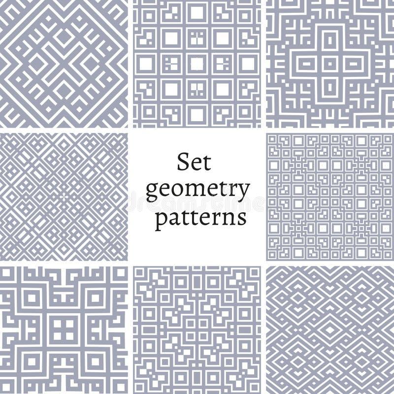 Uppsättning av dekorativa modeller för bakgrunder och texturer stock illustrationer