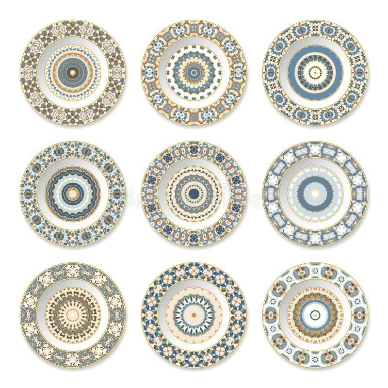 Uppsättning av dekorativa plattor stock illustrationer
