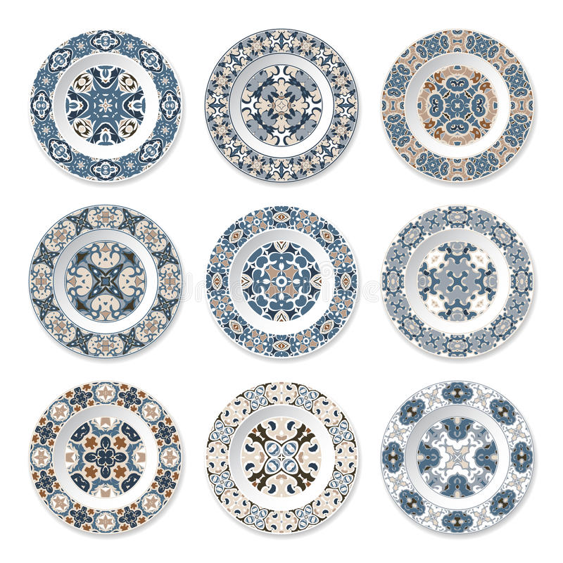 Uppsättning av dekorativa plattor vektor illustrationer