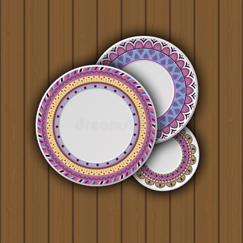 Uppsättning av dekorativa plattor med en etnisk stam- prydnad av handwoen royaltyfri illustrationer