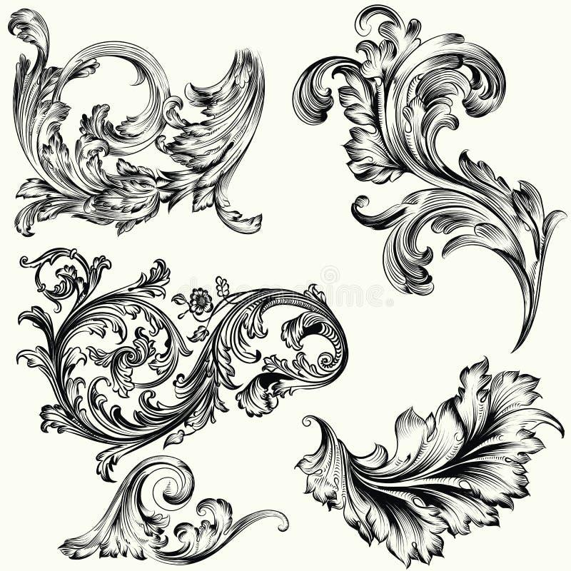 Uppsättning av dekorativa prydnader för vektor i tappning royaltyfri illustrationer