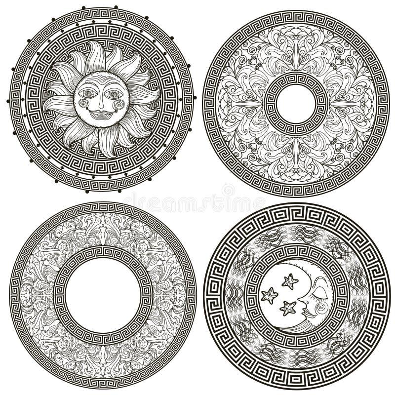 Uppsättning av dekorativa ramar och rosetter royaltyfri illustrationer
