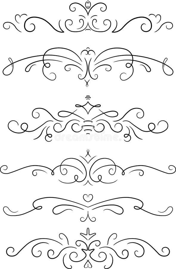 Uppsättning av 6 dekorativa virvelbeståndsdelar, avdelare, sidadekorer royaltyfri illustrationer
