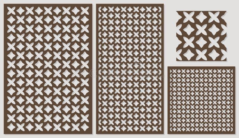 Uppsättning av dekorativt panellaser-klipp en träpanel Etnisk medborgare som upprepar modellen av två diagram vektor illustrationer
