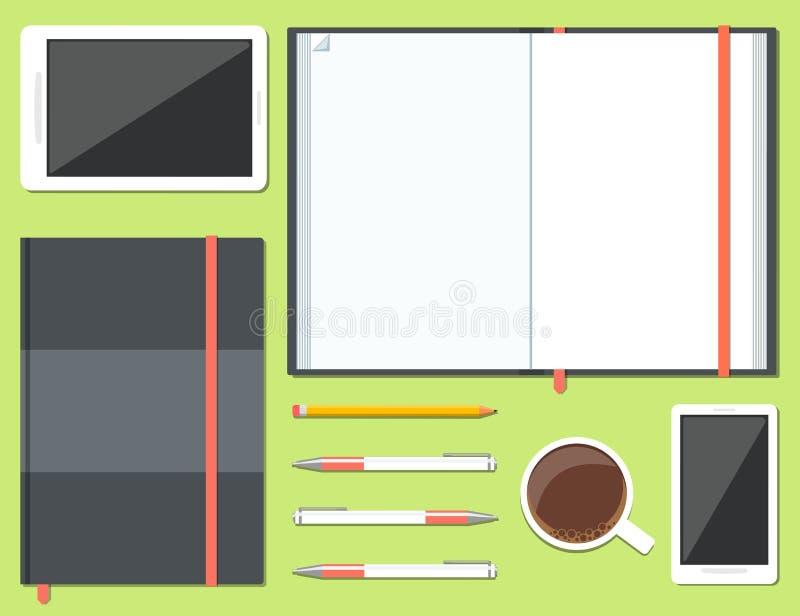 Uppsättning av den öppnade och stängda sketchbooken royaltyfri illustrationer