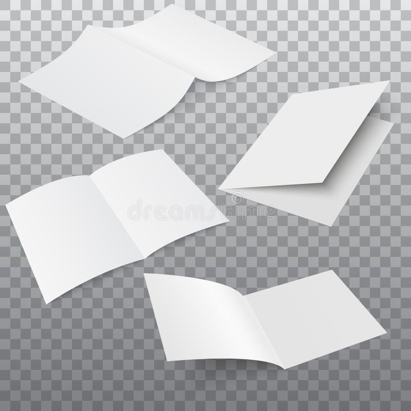 Uppsättning av den öppnade tidskriften, tidskriften, häftet, vykortet, reklambladet, affärskortet eller broschyren vektor vektor illustrationer