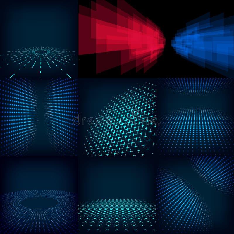 Uppsättning av den abstrakta digitala mallen för bakgrund som nio göras med lutning och cirklar inkludera vektor illustrationer
