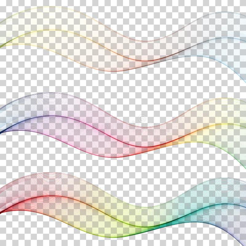 Uppsättning av den abstrakta färgglade vågen som isoleras på vit bakgrund Vektorillustration för modern affärsdesign futuristic royaltyfri illustrationer