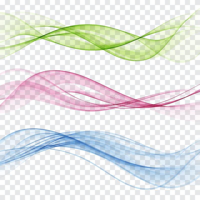 Uppsättning av den abstrakta färgvågen Färgrökvåg Genomskinlig färgvåg Blått rosa färger, röd färg stock illustrationer