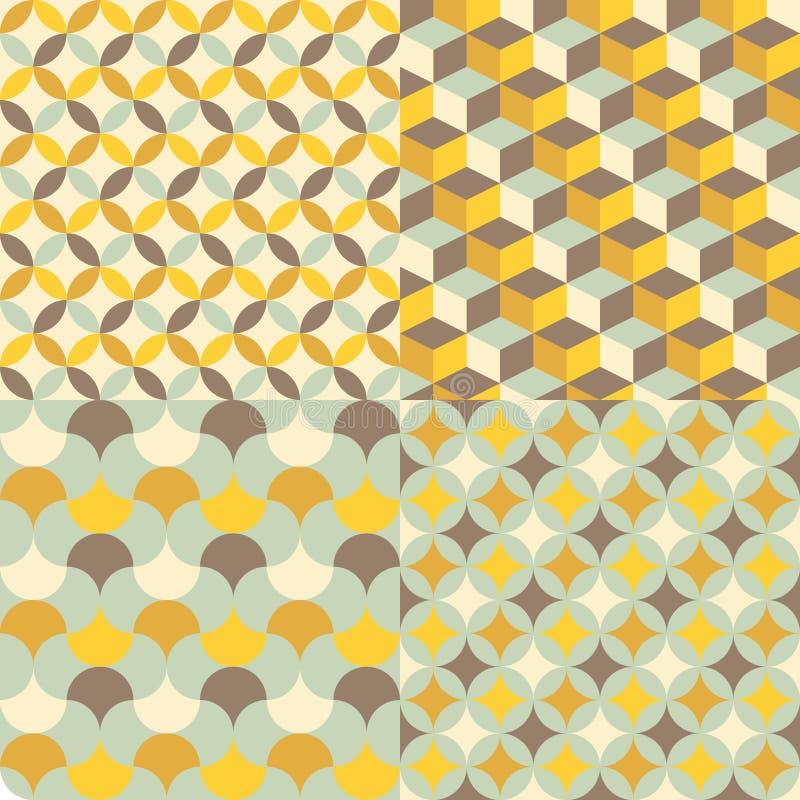 Uppsättning av den abstrakta retro geometriska modellen royaltyfri illustrationer