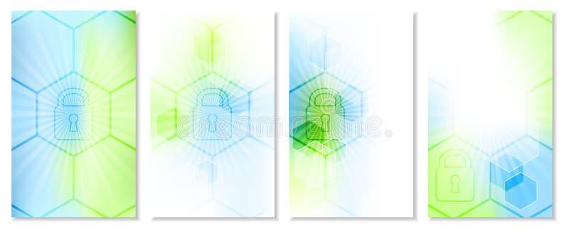 Uppsättning av den abstrakta teknologiska tapeten med globalt säkerhetsbegrepp vektor illustrationer