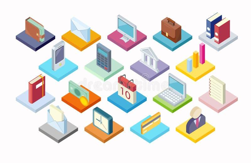 Uppsättning av den affärssymbolsIsometry 3d designen royaltyfri illustrationer