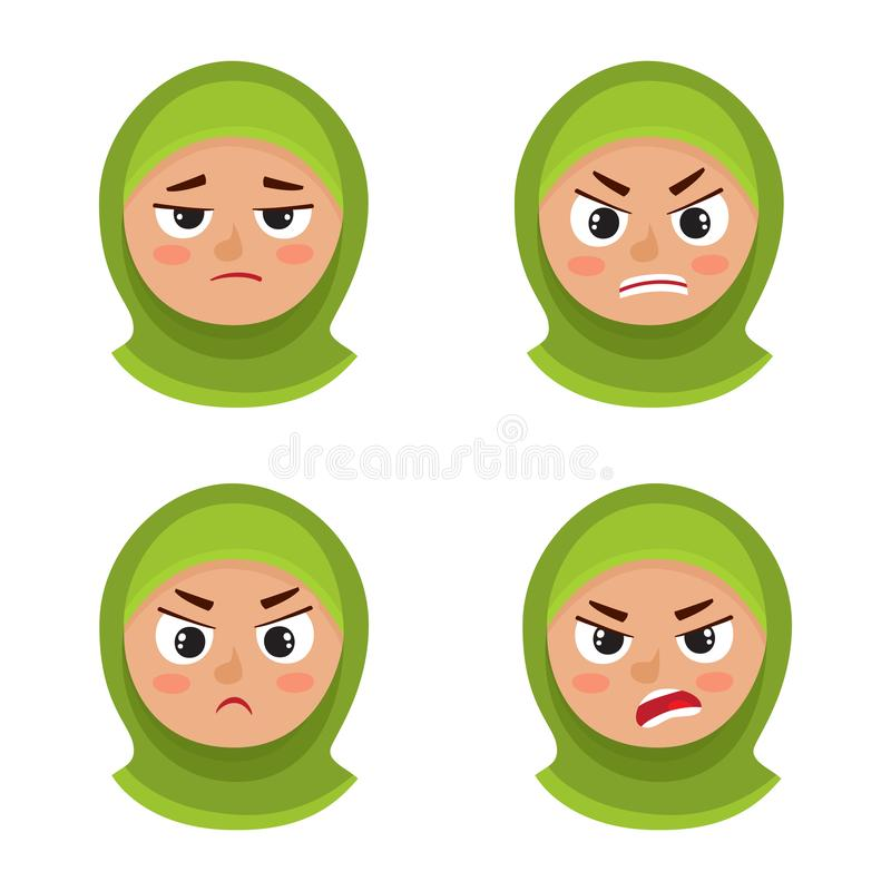 Uppsättning av den arabiska flickan med ilsket framsidauttryck för hijab som isoleras på vit stock illustrationer