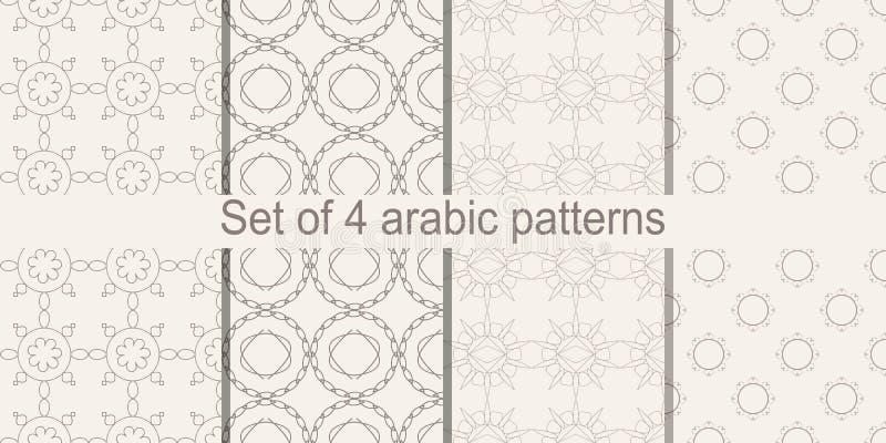 Uppsättning av den arabiska sömlösa modellen Vektor som upprepar textur royaltyfri illustrationer