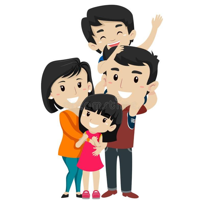 Uppsättning av den asiatiska lyckliga familjen royaltyfri illustrationer