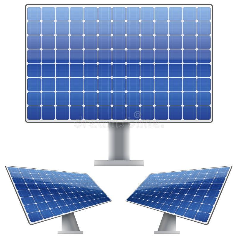 Uppsättning av den blåa elektriska solpanelen för solljus royaltyfri illustrationer