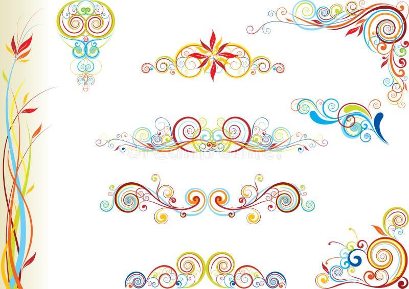 Uppsättning av den blom- designen för färg royaltyfri illustrationer