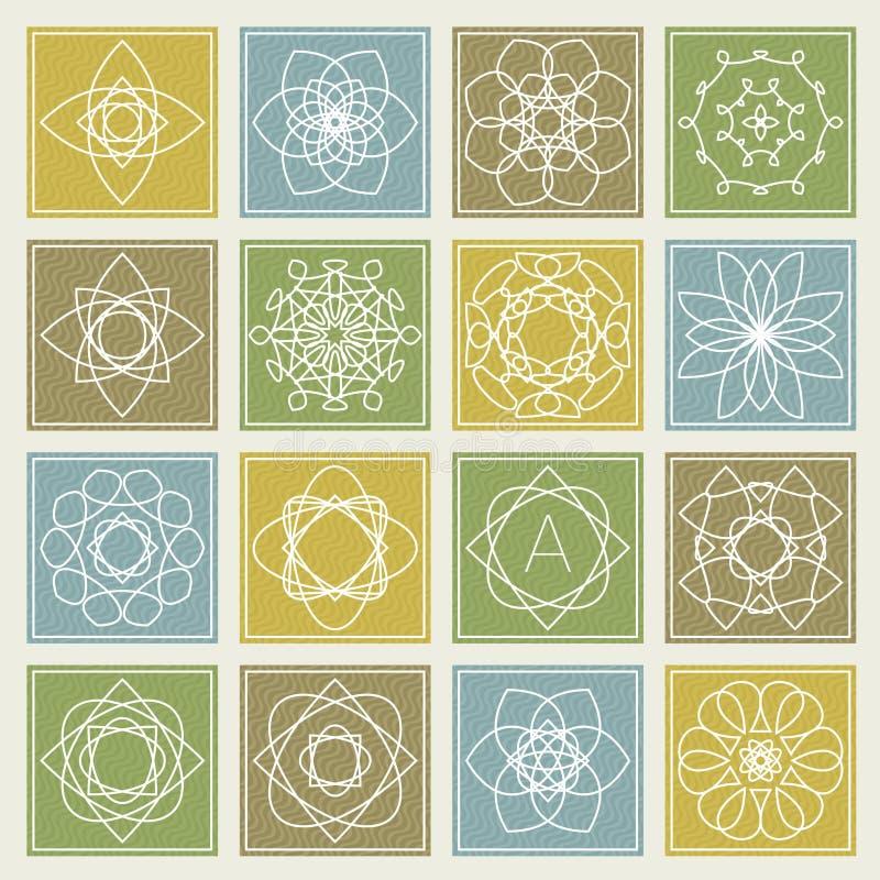 Uppsättning av den blom- monogramdesignen Linje konstbeståndsdelar vektor royaltyfri illustrationer