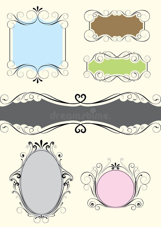 Uppsättning av den blom- ramen för färg stock illustrationer