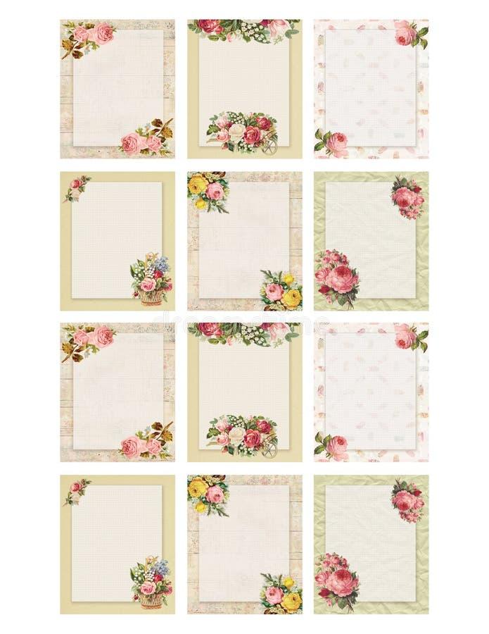 Uppsättning av den blom- rosen för tryckbar stil för tappning som tolv sjaskig chic är stationär på trä- och pappersbakgrund royaltyfri illustrationer