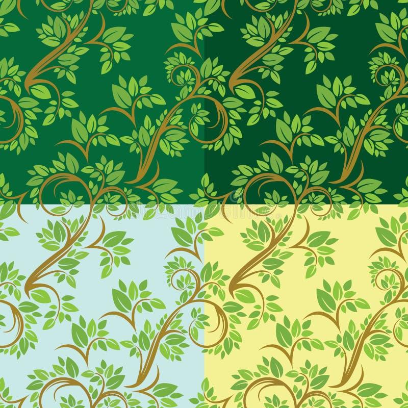 Uppsättning av den blom- sömlösa modellen, detaljerad prydnad med olivgrön tre stock illustrationer