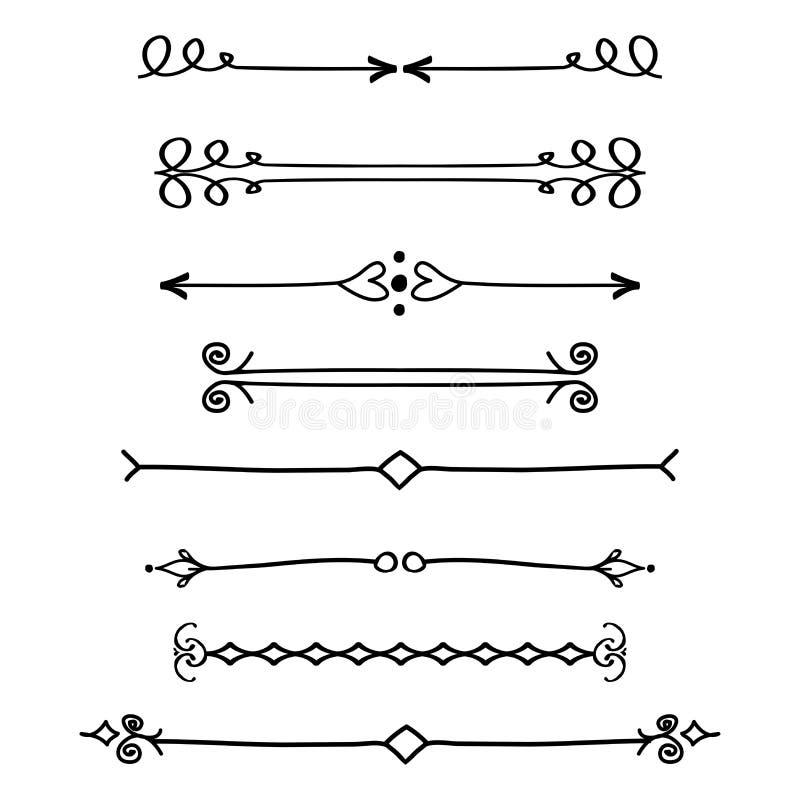 Uppsättning av den calligraphic designbeståndsdelar och sidadekoren stock illustrationer