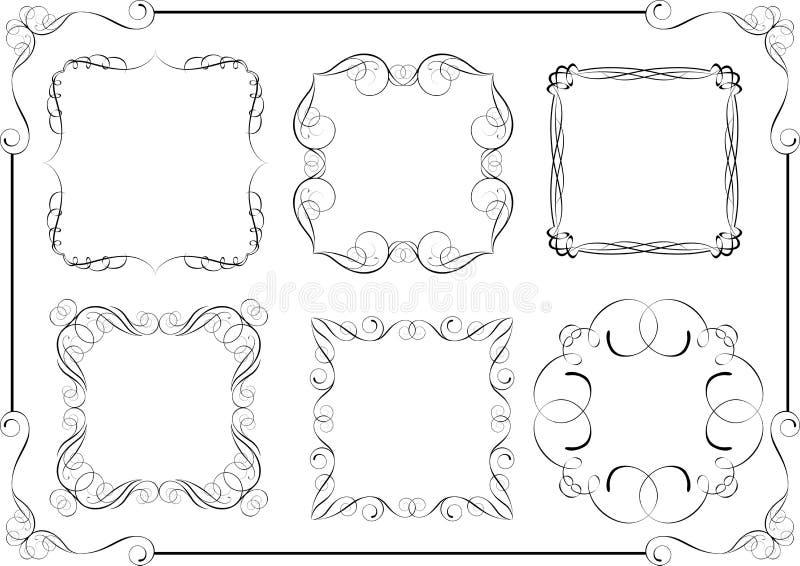 Uppsättning av den calligraphic ramdesignen för virvel stock illustrationer