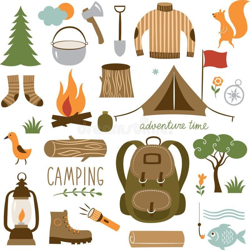 Uppsättning av den campa utrustningsymbolsuppsättningen stock illustrationer