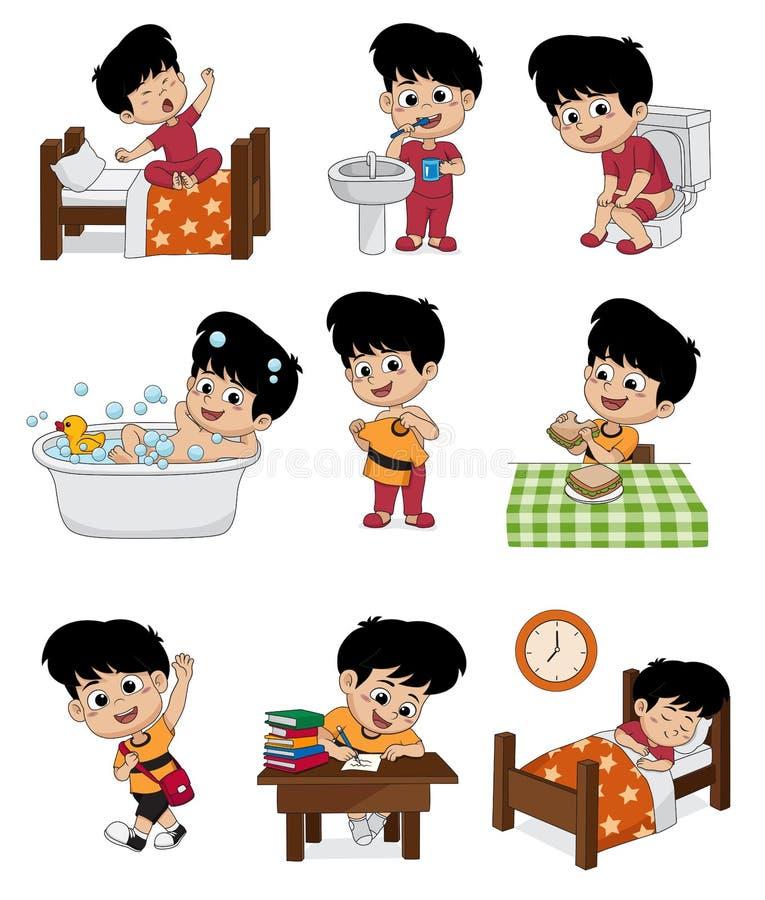 Uppsättning av den dagliga gulliga pojken Pojkevaken upp och att borsta tänder, ungen kissar och att ta vektor illustrationer