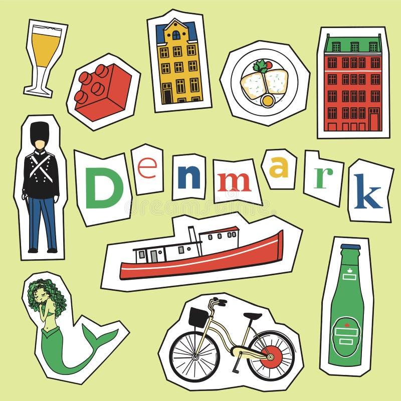 Uppsättning av den Danmark gränsmärket och symboler vektor illustrationer