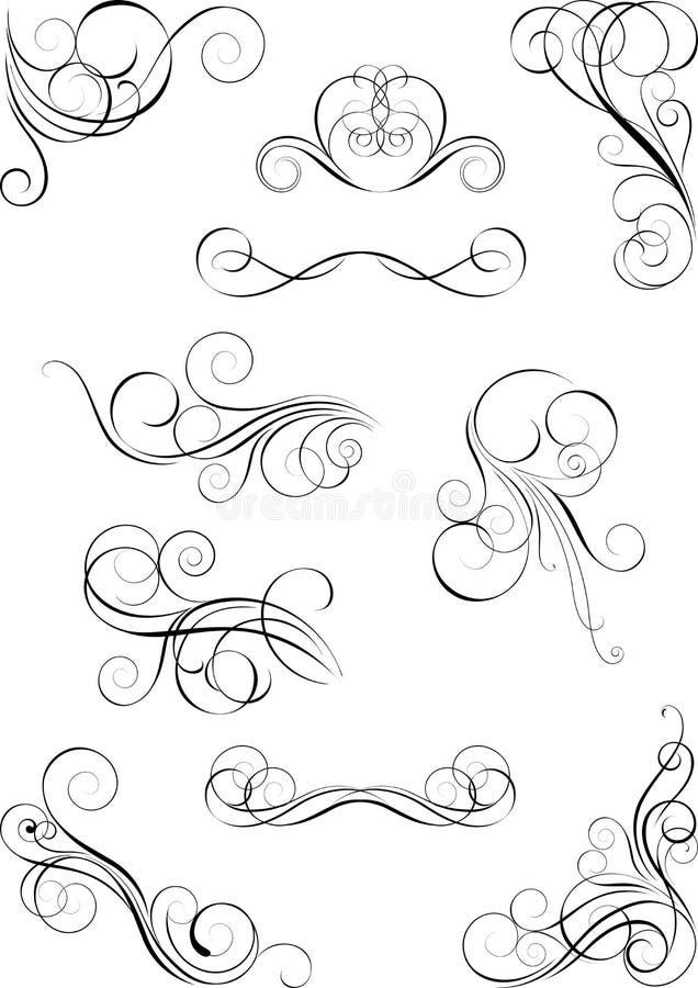Uppsättning av den dekorativa designen vektor illustrationer