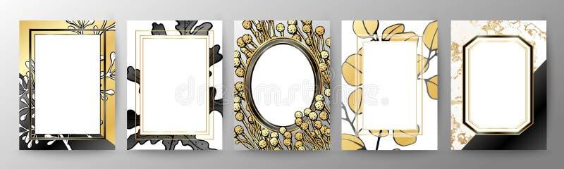 Uppsättning av den eleganta broschyren, kort, räkning Svart och guld- marmortextur geometrisk ram Den suckulenta botaniska platta royaltyfri illustrationer