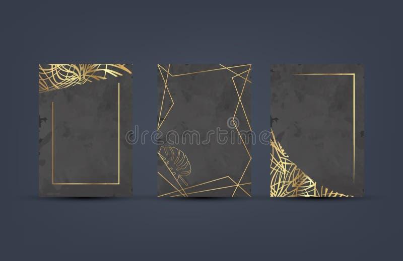 Uppsättning av den eleganta lyxiga broschyren, kort, bakgrundsräkning Svart och guld- abstrakt vattenfärgbakgrundstextur geometri vektor illustrationer