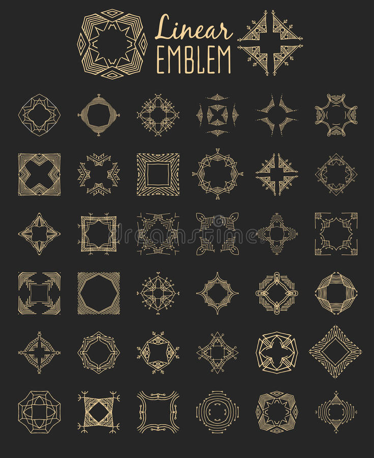Uppsättning av den eleganta monogramdesignen också vektor för coreldrawillustration royaltyfri illustrationer