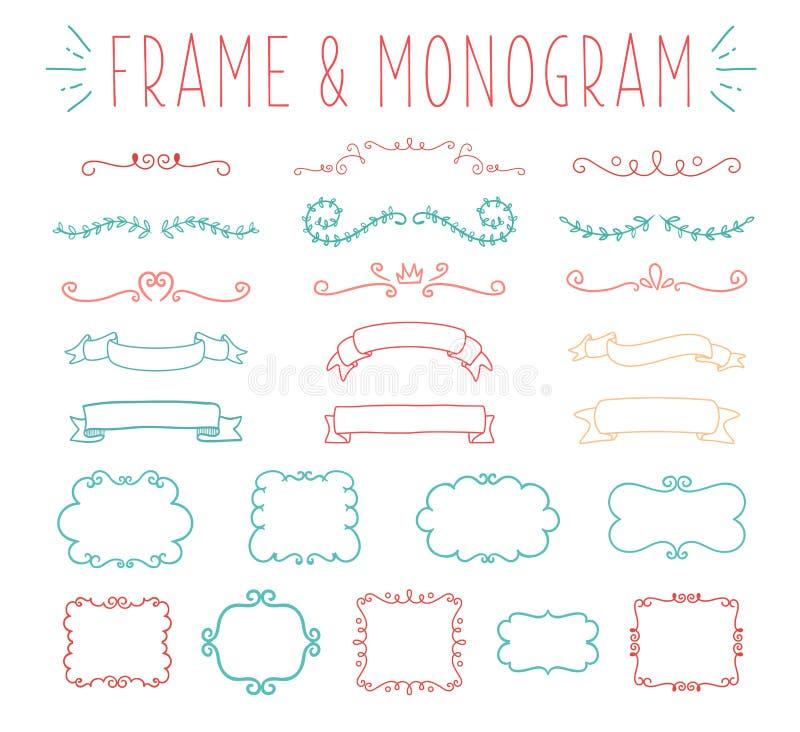 Uppsättning av den enkla och behagfulla monogramdesignen stock illustrationer