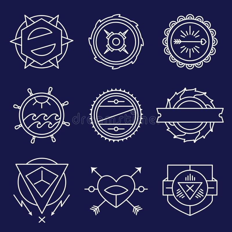 Uppsättning av den enkla och behagfulla monokromma monogrammet royaltyfri illustrationer