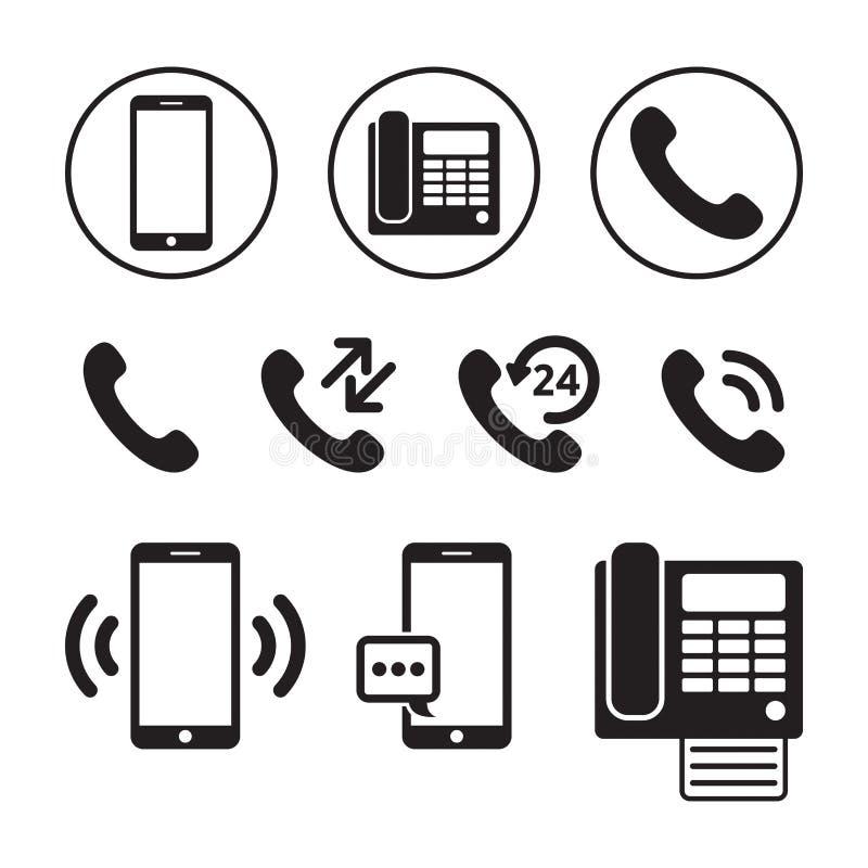 Uppsättning av den enkla telefonsymbolen royaltyfri illustrationer