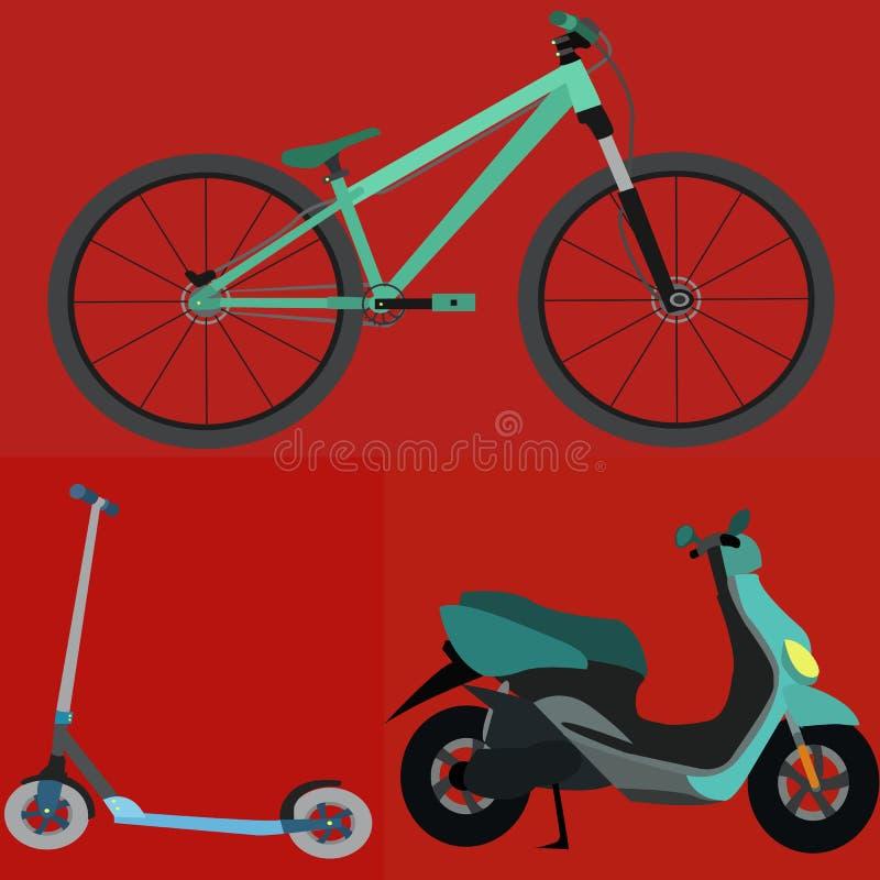 Uppsättning av den enkla vektorn TransportationBicycle, sparkcykel, Motobike vektor illustrationer