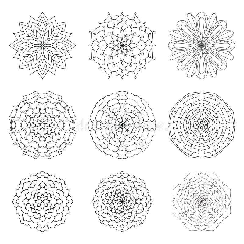 Uppsättning av den etniska dekorativa blom- modellen Hand drog mandalas VI vektor illustrationer