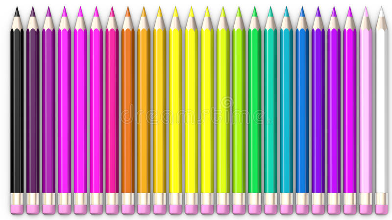 Uppsättning av den färgade blyertspennan Blyertspennor arrangera i rak linje och sorteras stock illustrationer