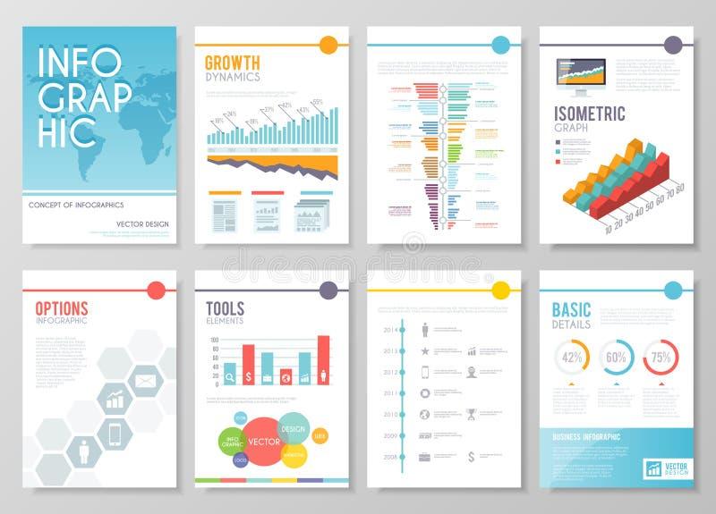 Uppsättning av den färgglade infographic vektoraffären royaltyfri illustrationer