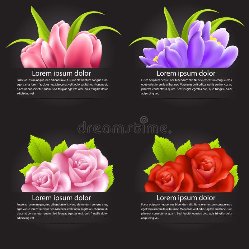 Uppsättning av den färgrika blomman i baner royaltyfri illustrationer