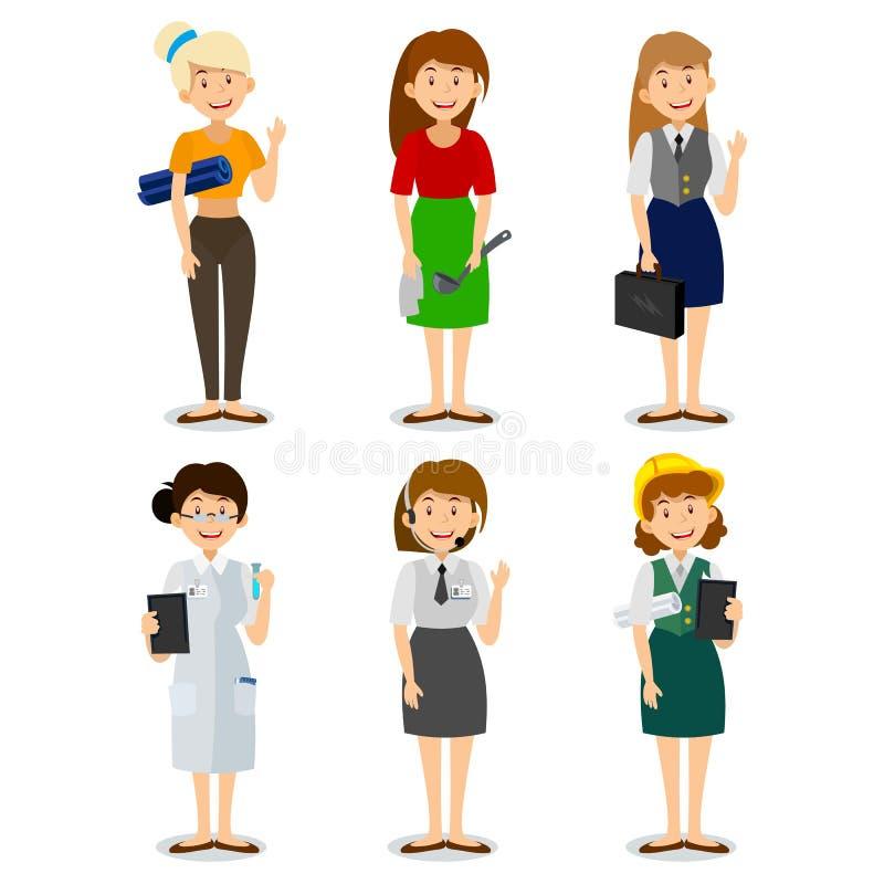Uppsättning av den färgrika teknikern för symboler för stil för yrkekvinnalägenhet, en hemmafru, en yogainstruktör, forskare, ent vektor illustrationer