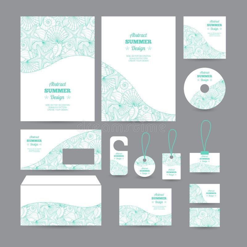 Uppsättning av den företags identiteten för mallar med decorativ vektor illustrationer