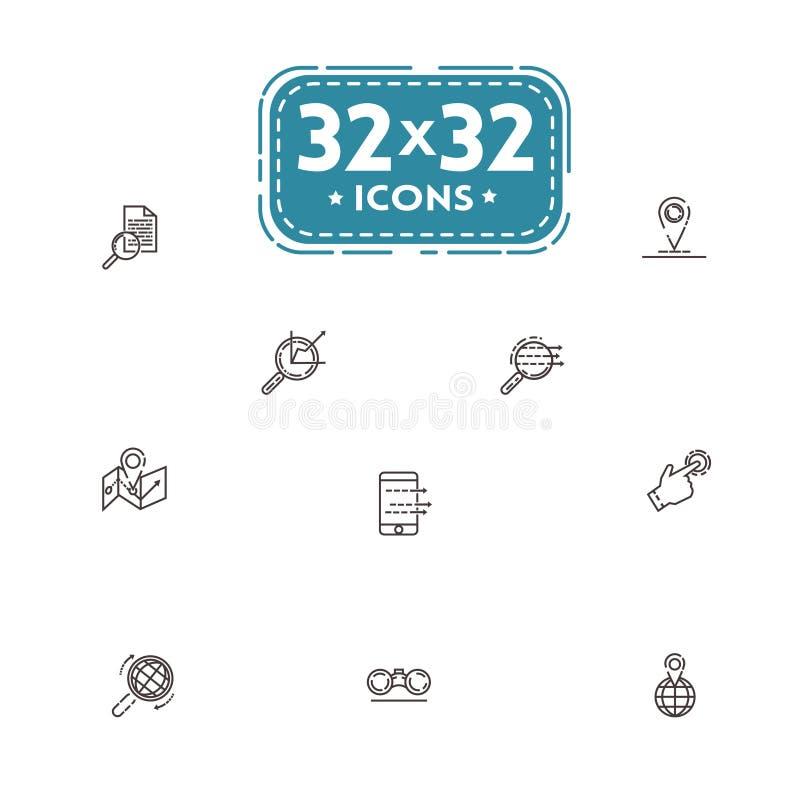 Uppsättning av den fina linjen symboler för vektorillustrationer av dataanalys, trafik, val av information perfekt PIXEL 32x32 stock illustrationer