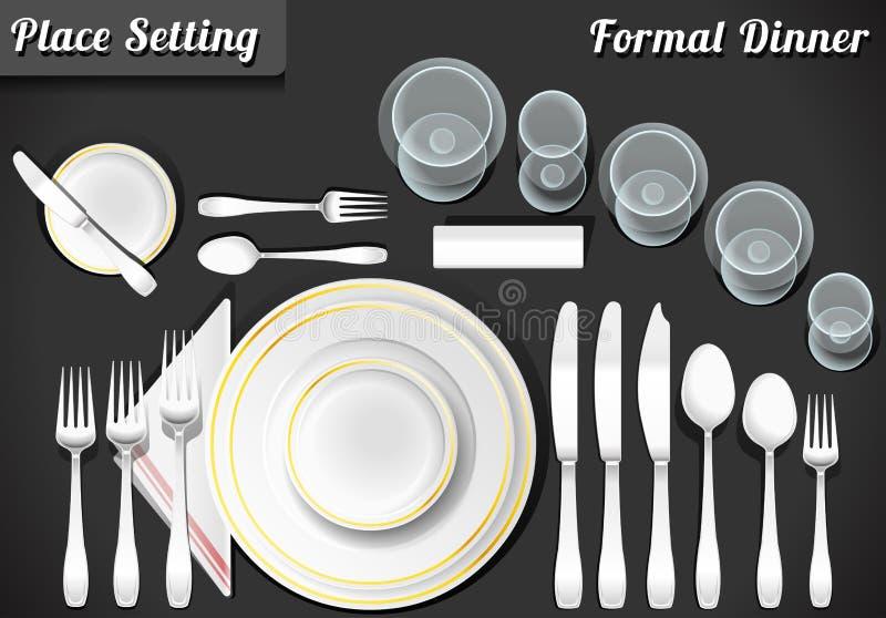 Uppsättning av den formella matställen för ställeinställning royaltyfri illustrationer