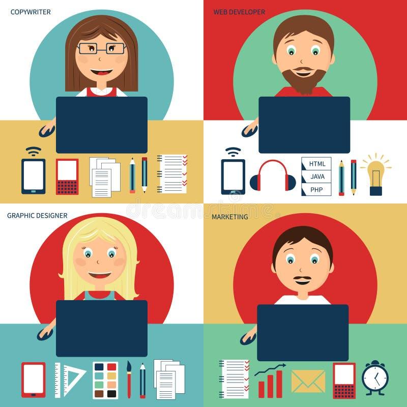 Download Uppsättning Av Den Frilans- Karriären Vektor Illustrationer - Illustration av nätverk, telefon: 76701469