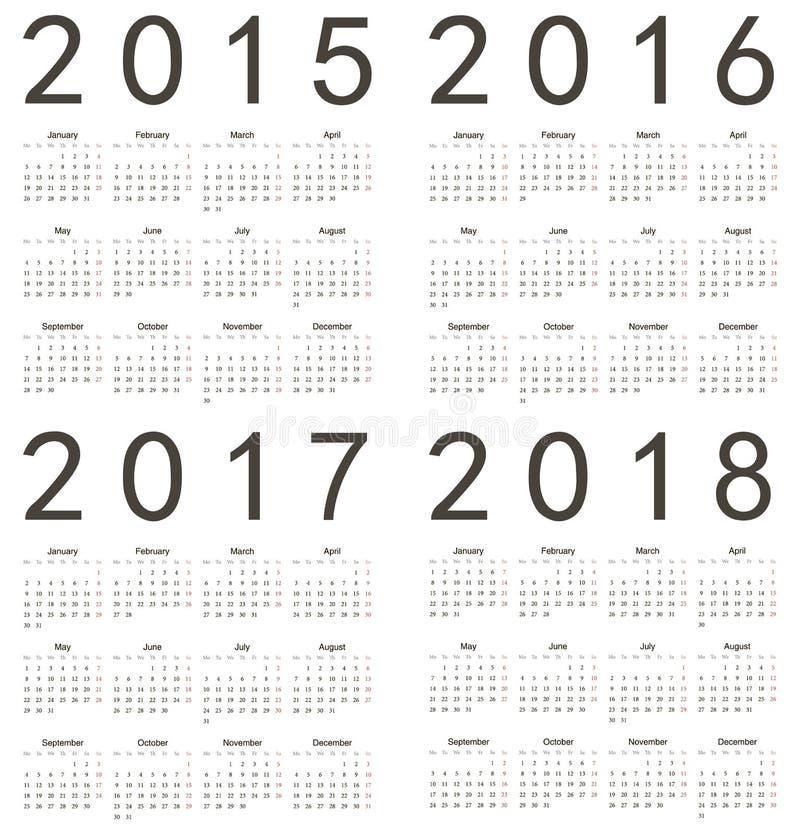 Uppsättning av den fyrkantiga europén 2015, 2016, 2017, 2018 år stock illustrationer