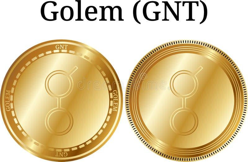 Uppsättning av den fysiska guld- myntgolemen GNT, digital cryptocurrency Symbolsuppsättning för Golem GNT royaltyfri illustrationer